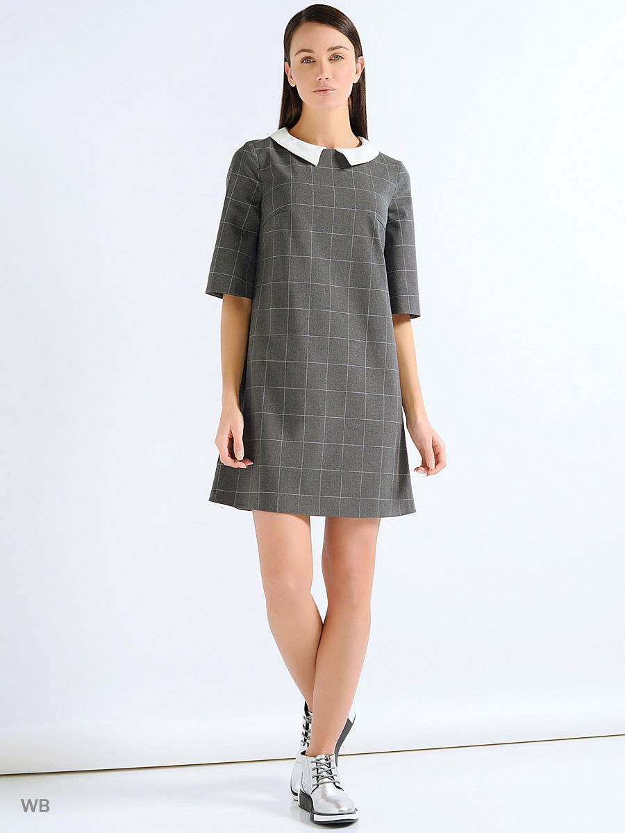 платье трапеция цвет серый