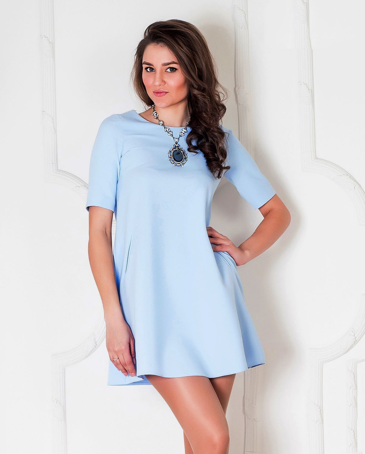 платье трапеция цвет голубой