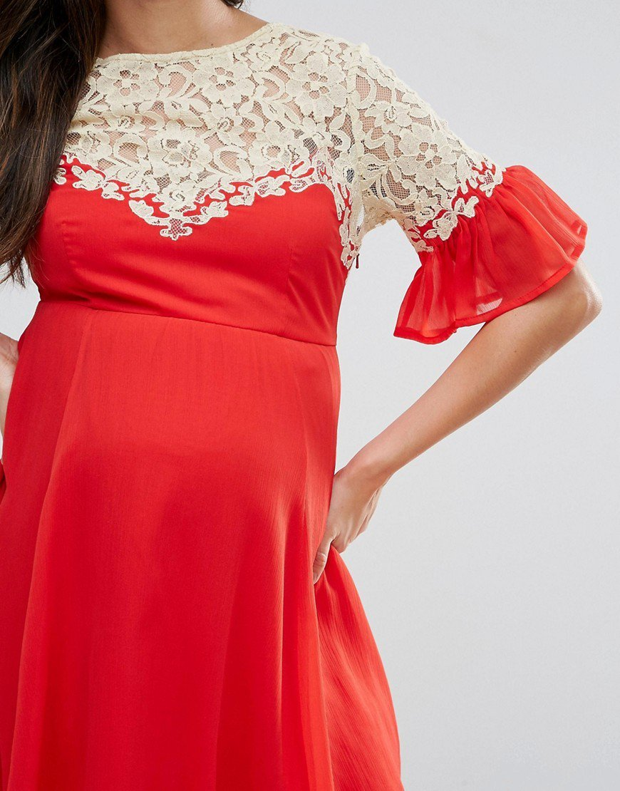 платье на кокетке красное для беременных
