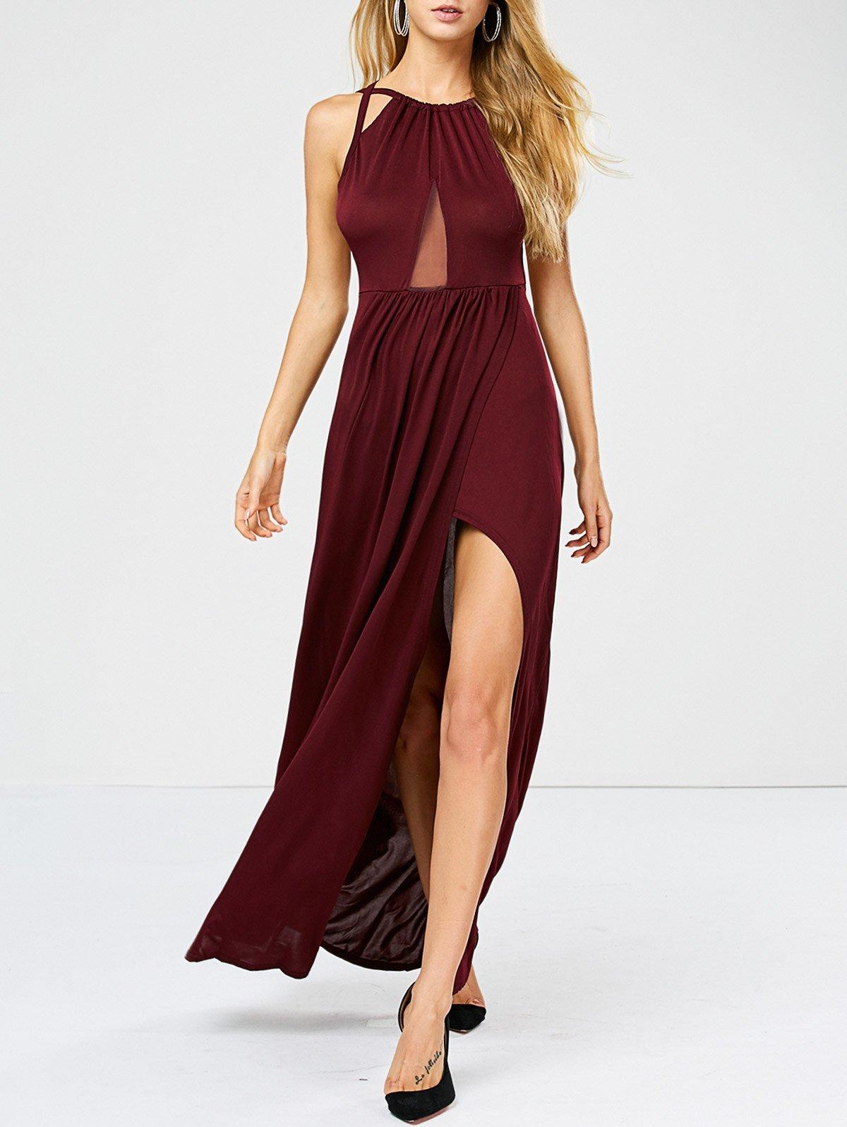 длинное платье с разрезом по ноге фото