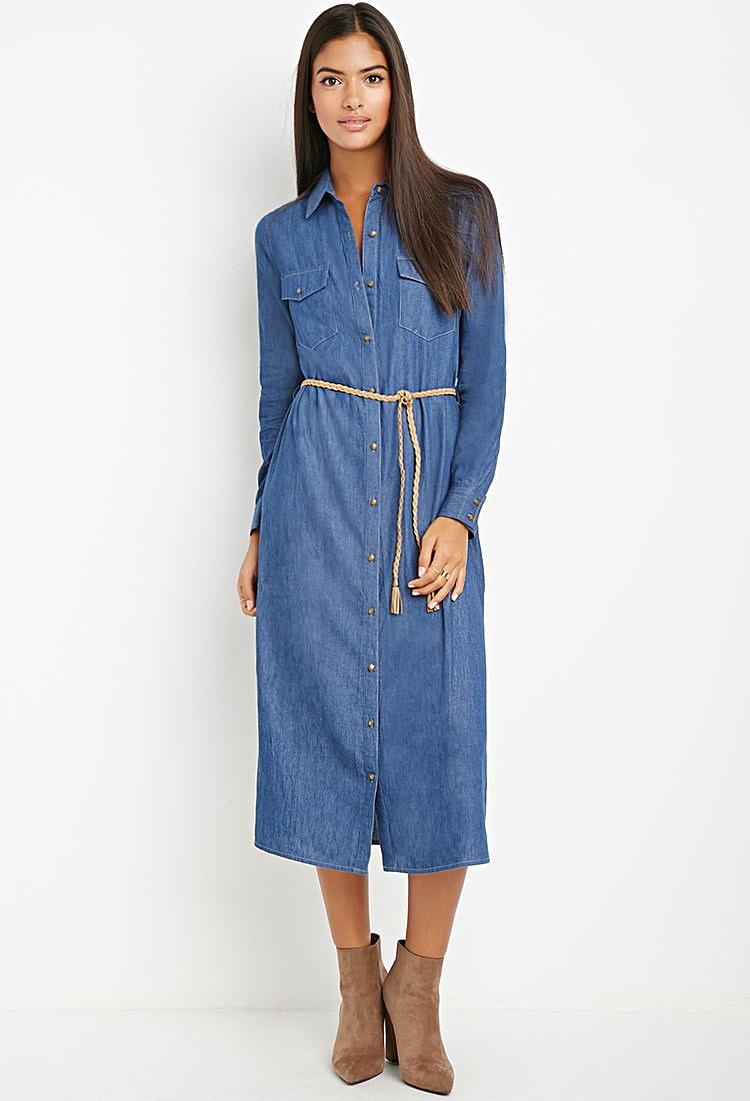 длинное платье джинсовое фото