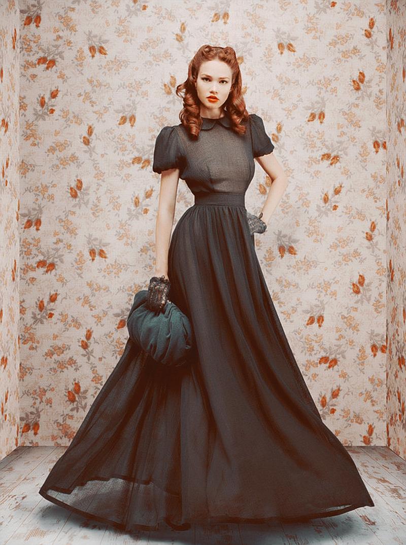 длинное платье в стиле ретро фото