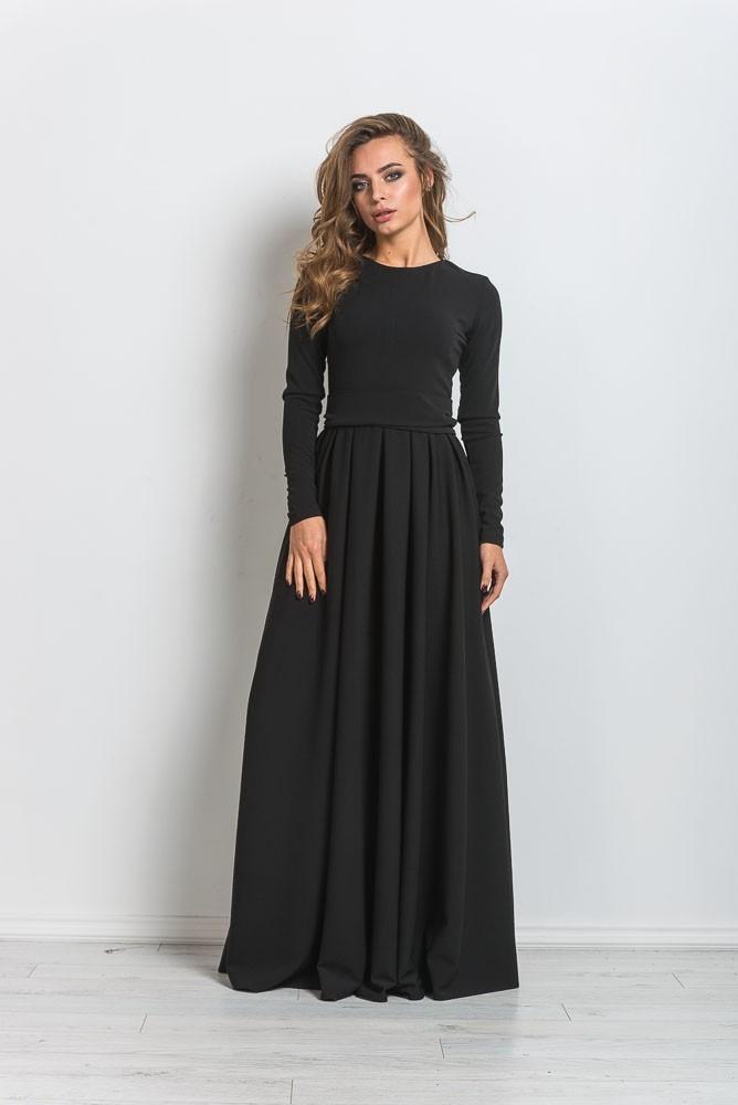 длинное платье с юбкой-клеш фото