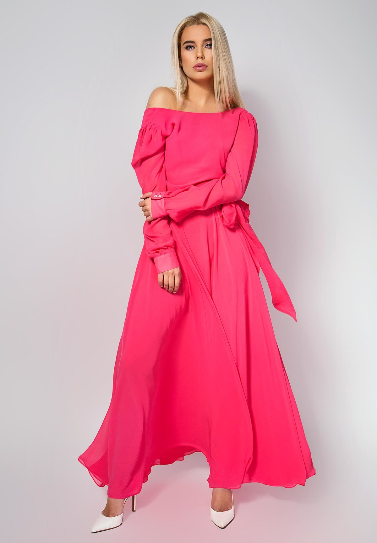 длинное платье розовое фото