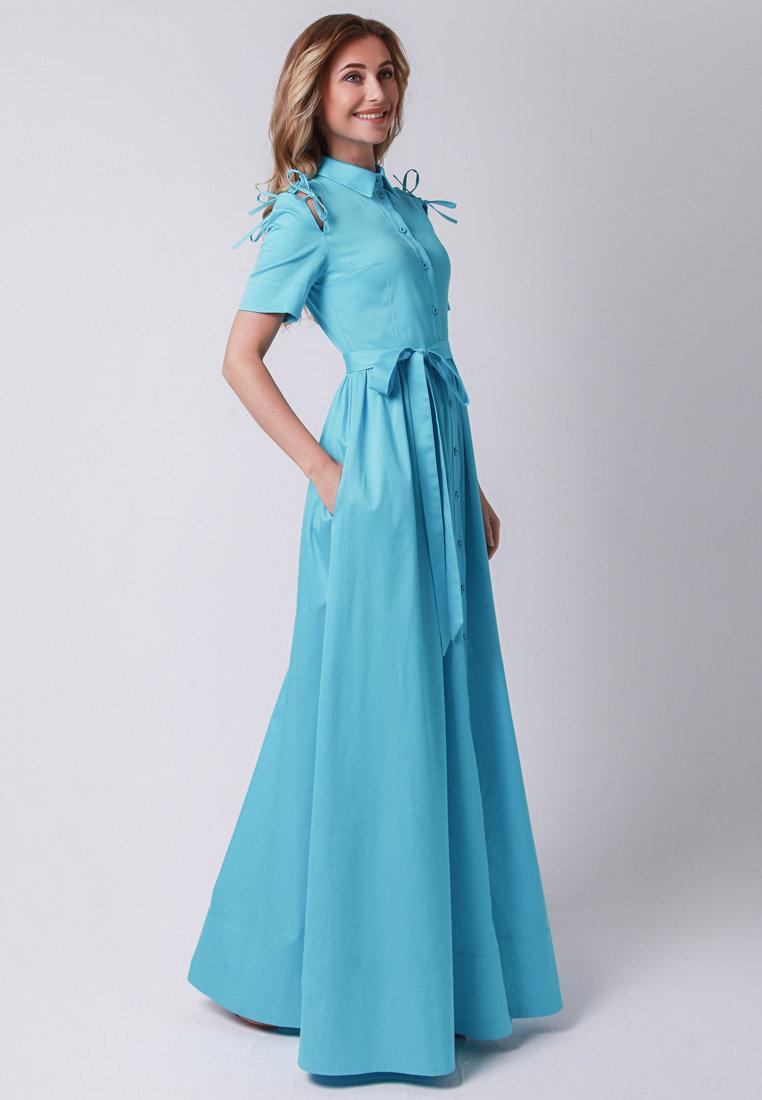 длинное платье голубое фото