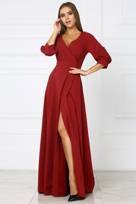 длинное платье бордовое фото