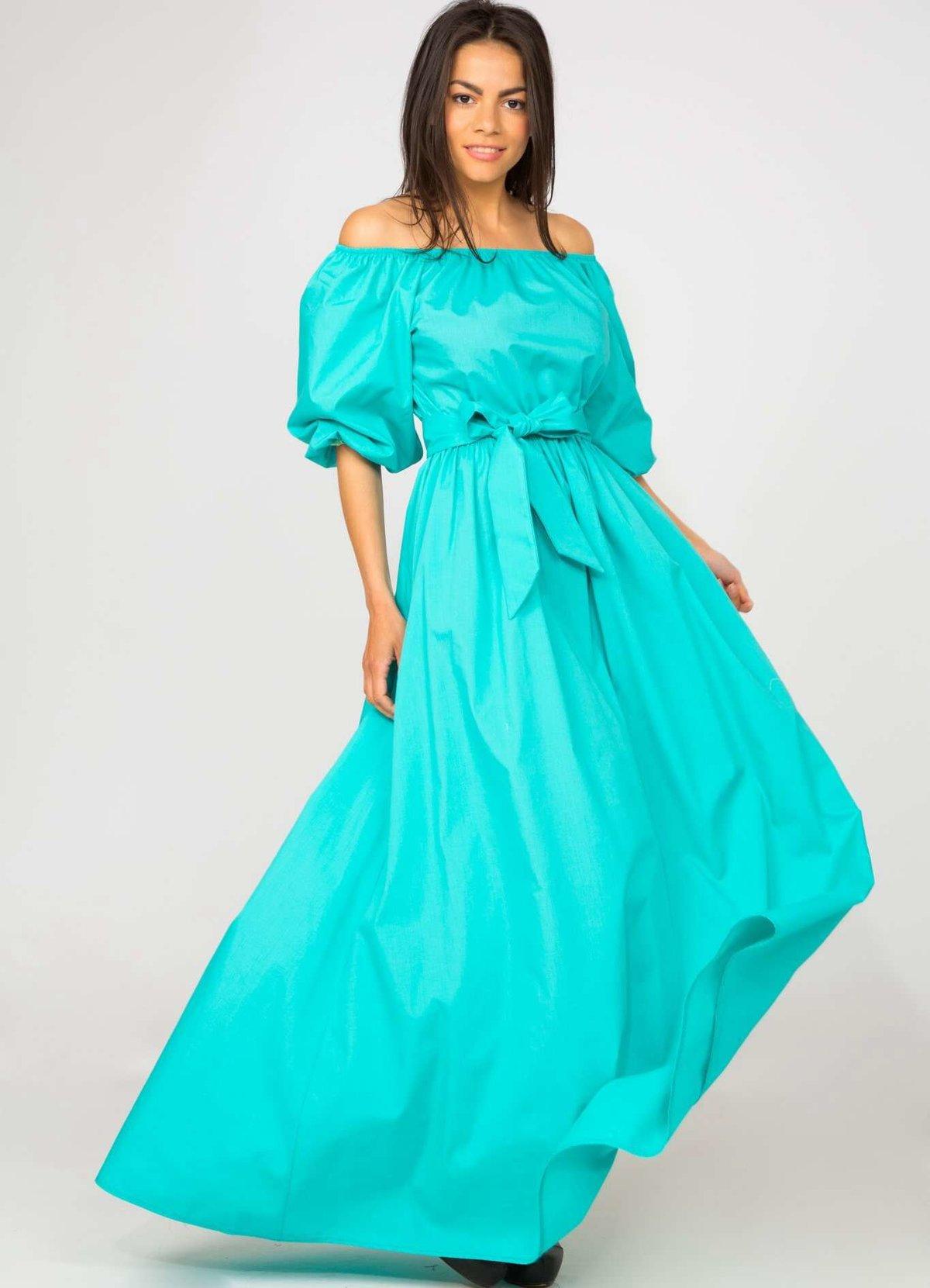 длинное платье бирюзовое фото