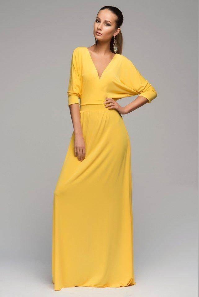 длинное платье желтое фото