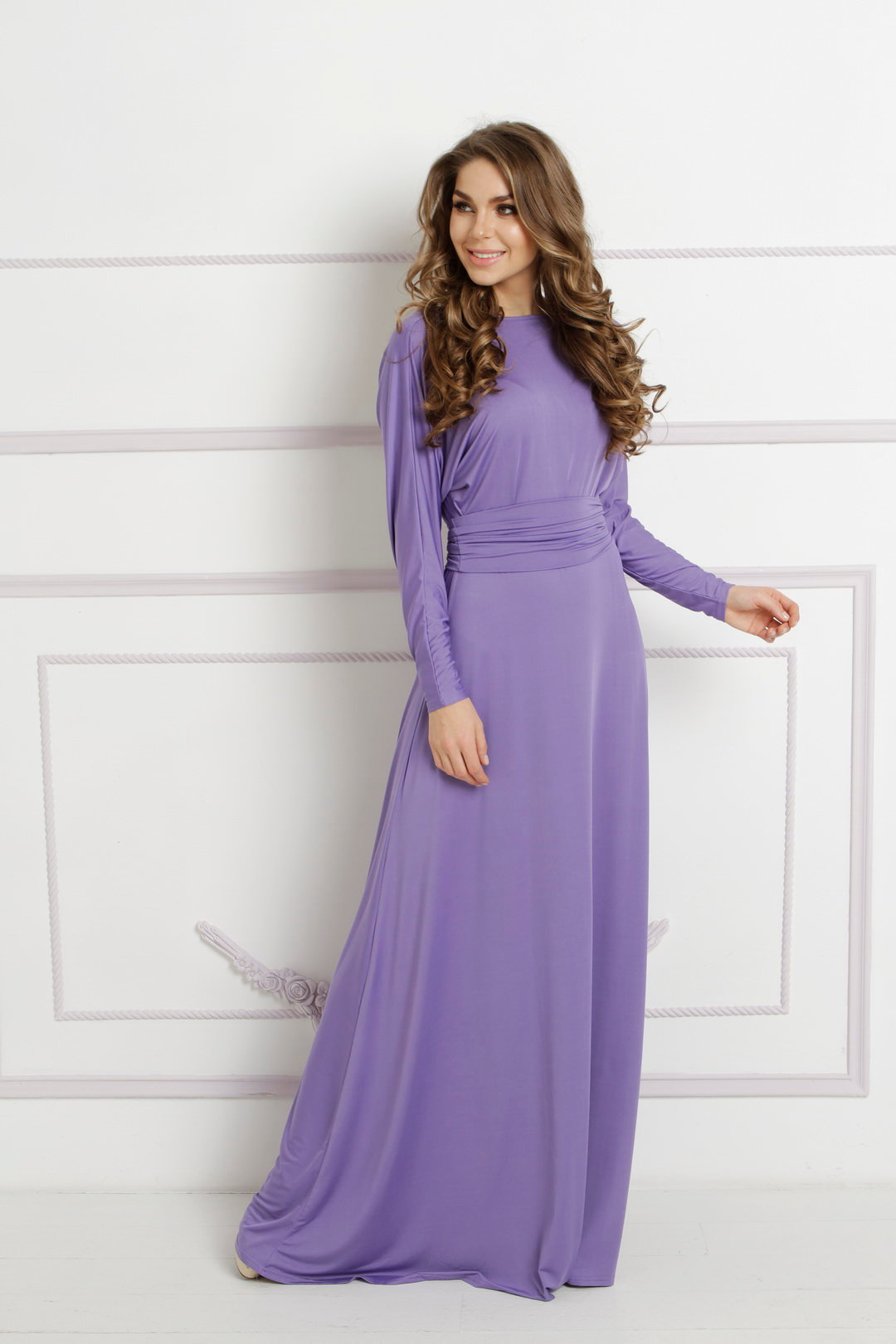 длинное платье сиреневое фото