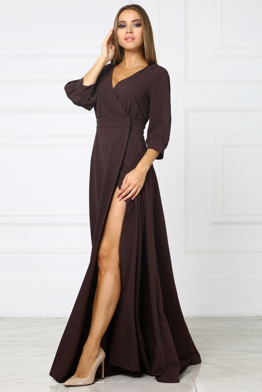 длинное платье коричневое фото