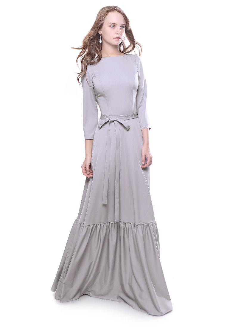 длинное платье серое фото