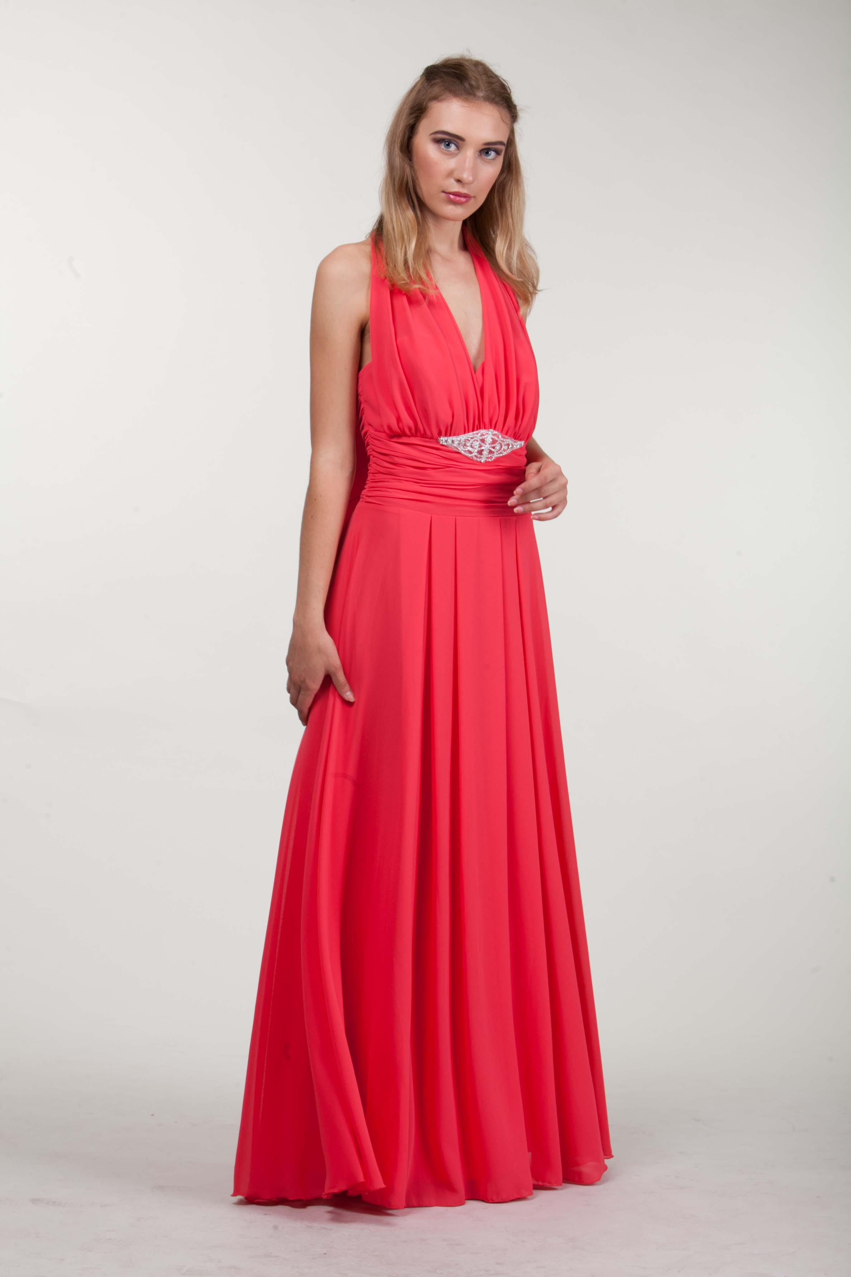 длинное платье кораллового цвета фото