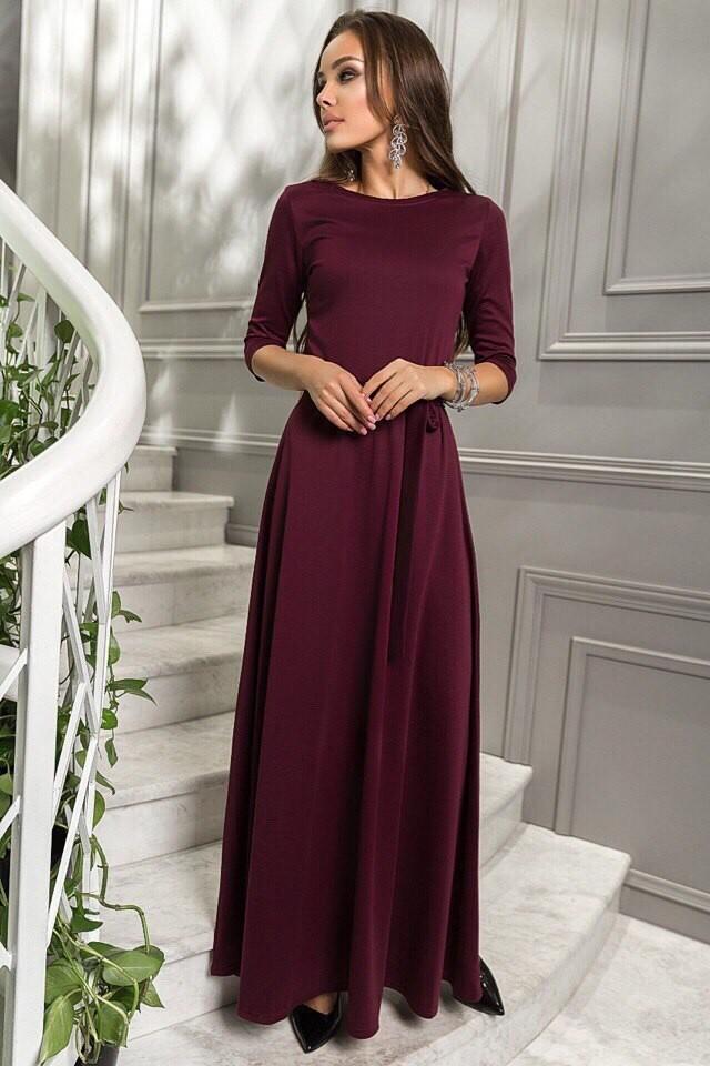 длинное платье цвета марсала фото