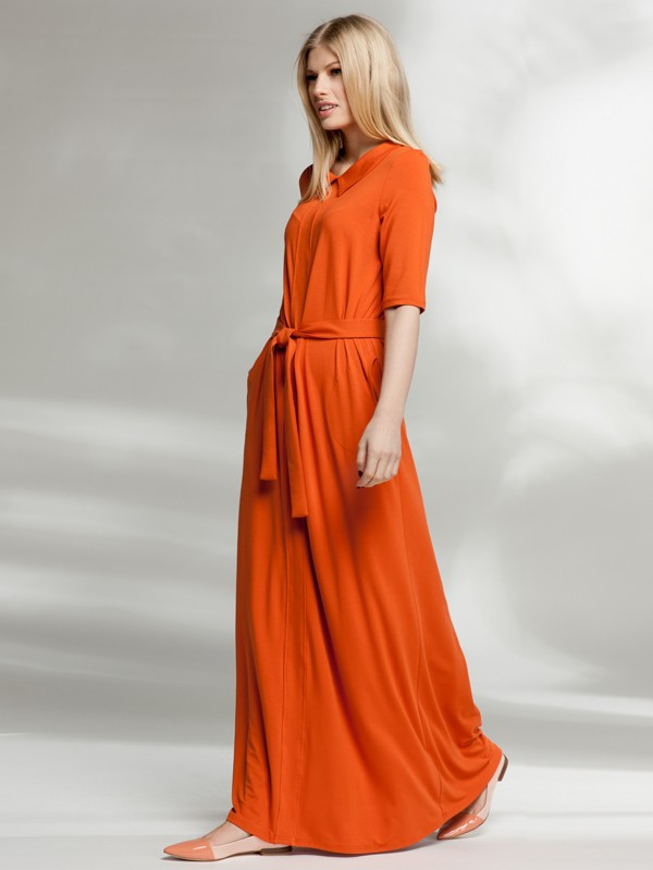 длинное платье оранжевого цвета фото