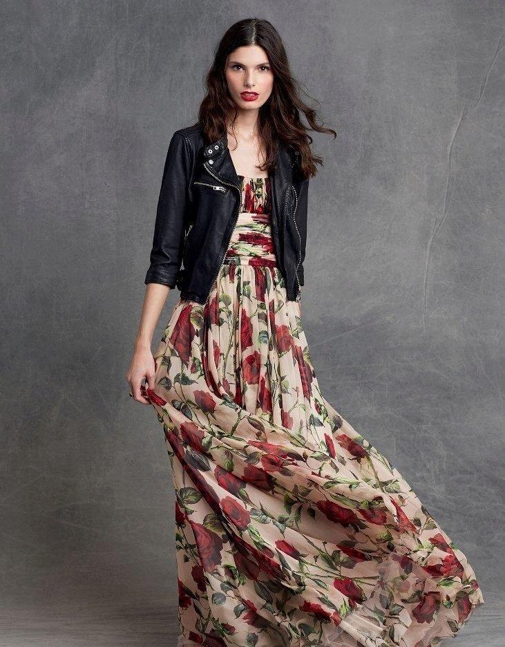 длинное платье с кожаной курткой фото