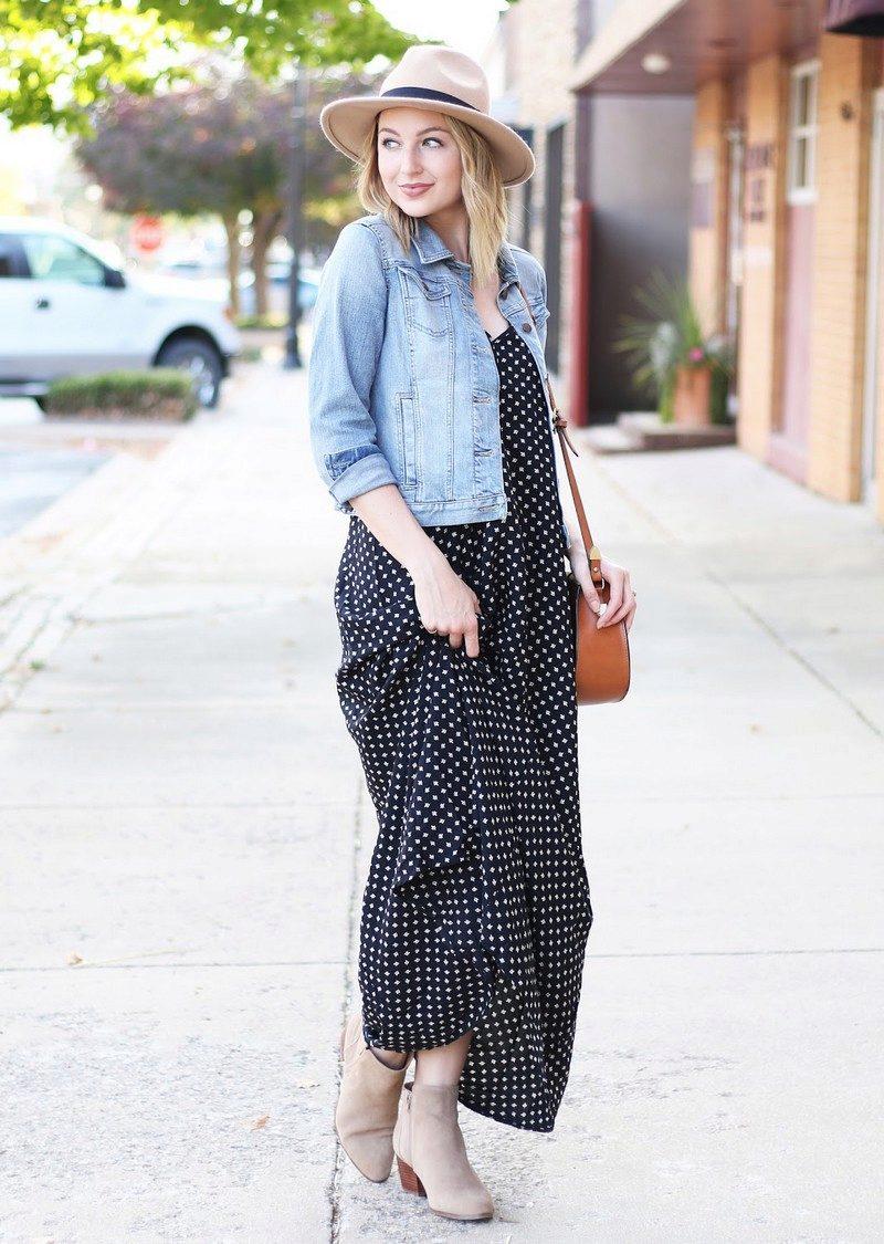 длинное платье с джинсовой курткой фото