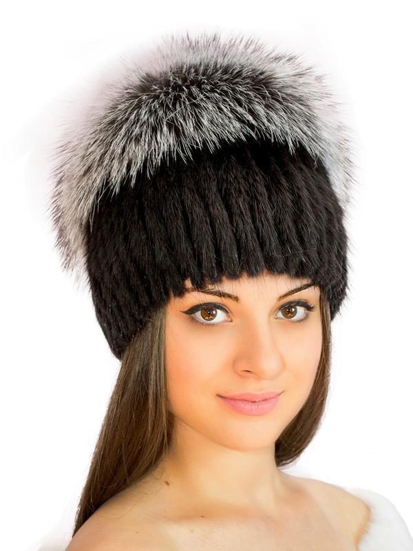 вязаная шапка с мехом фото