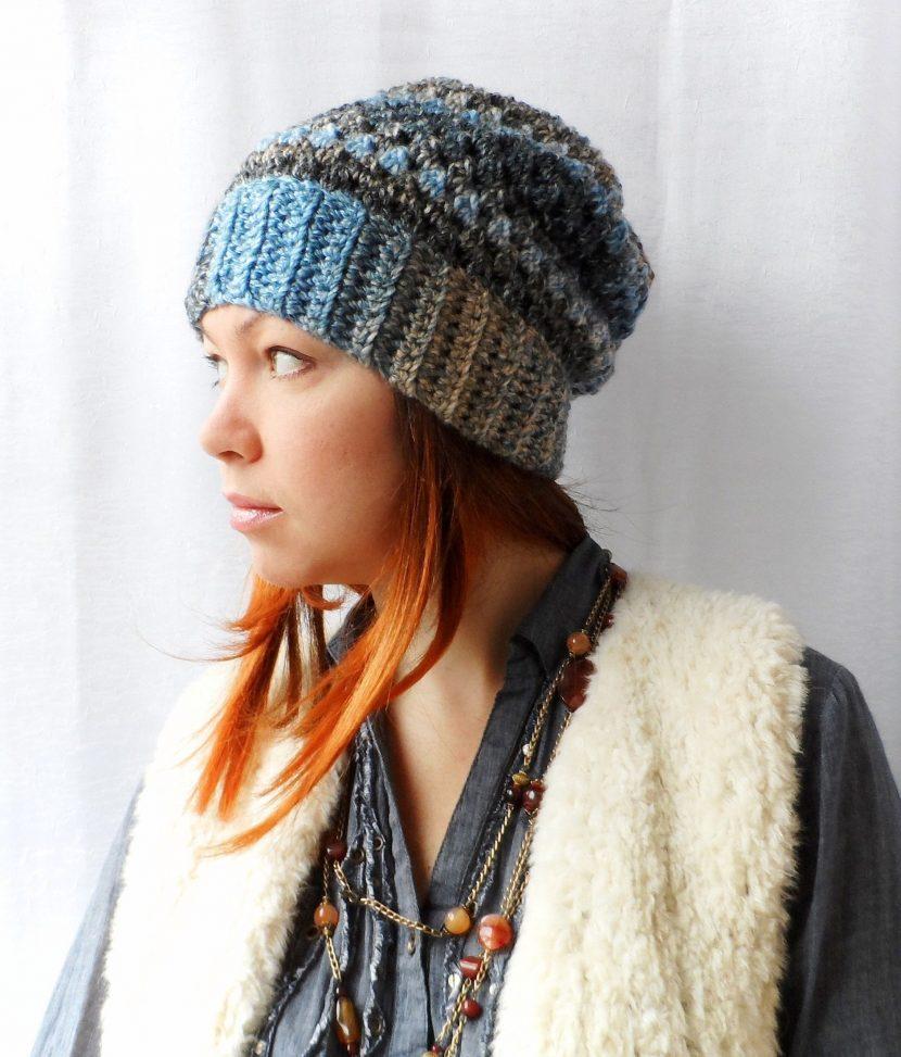 вязаная шапка в стиле бохо фото