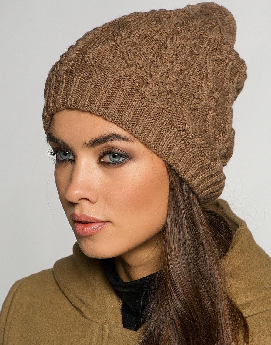 вязаная шапка коричневая фото