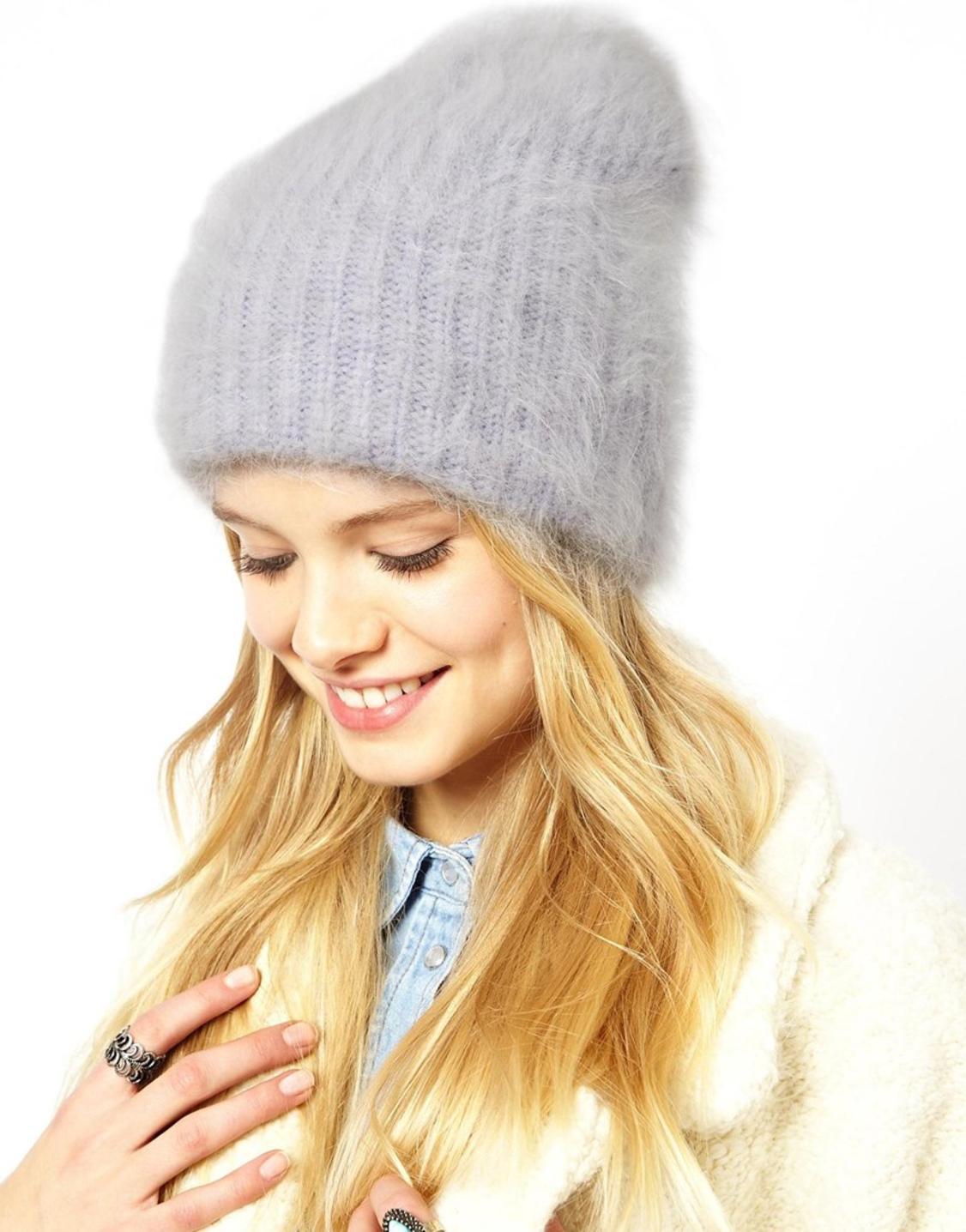 вязаная шапка ангора фото