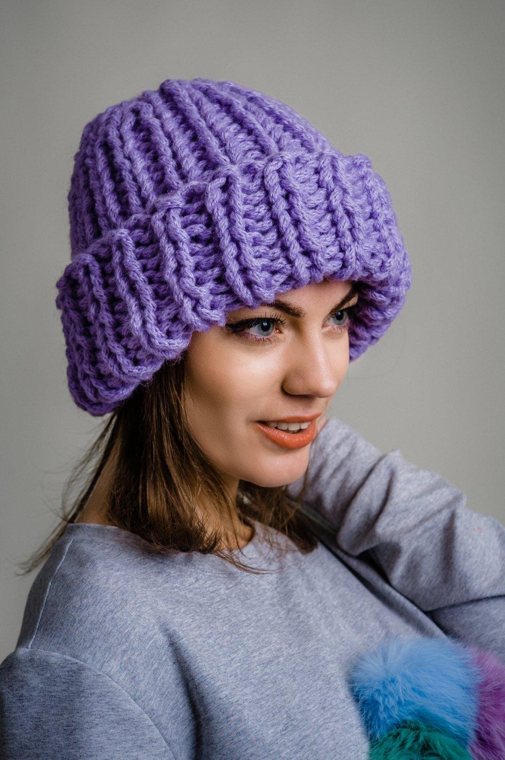 шапка вязаная крупная вязка фото