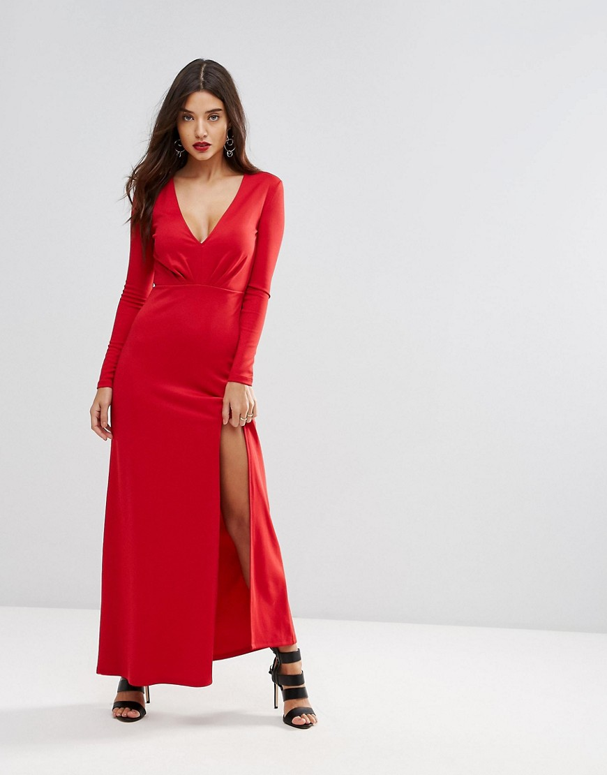 красное платье макси фото