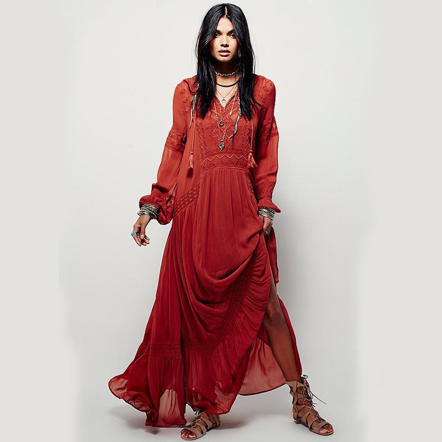 красное платье в стиле бохо фото