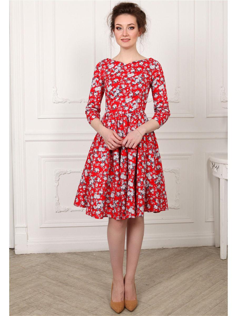 красное платье с белыми цветами фото