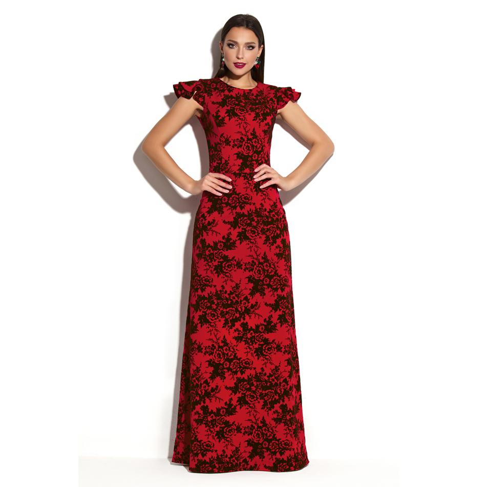 красное платье с черными цветами фото