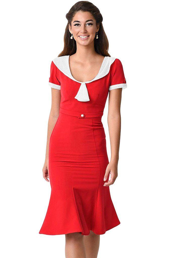 красное платье с белой отделкой фото