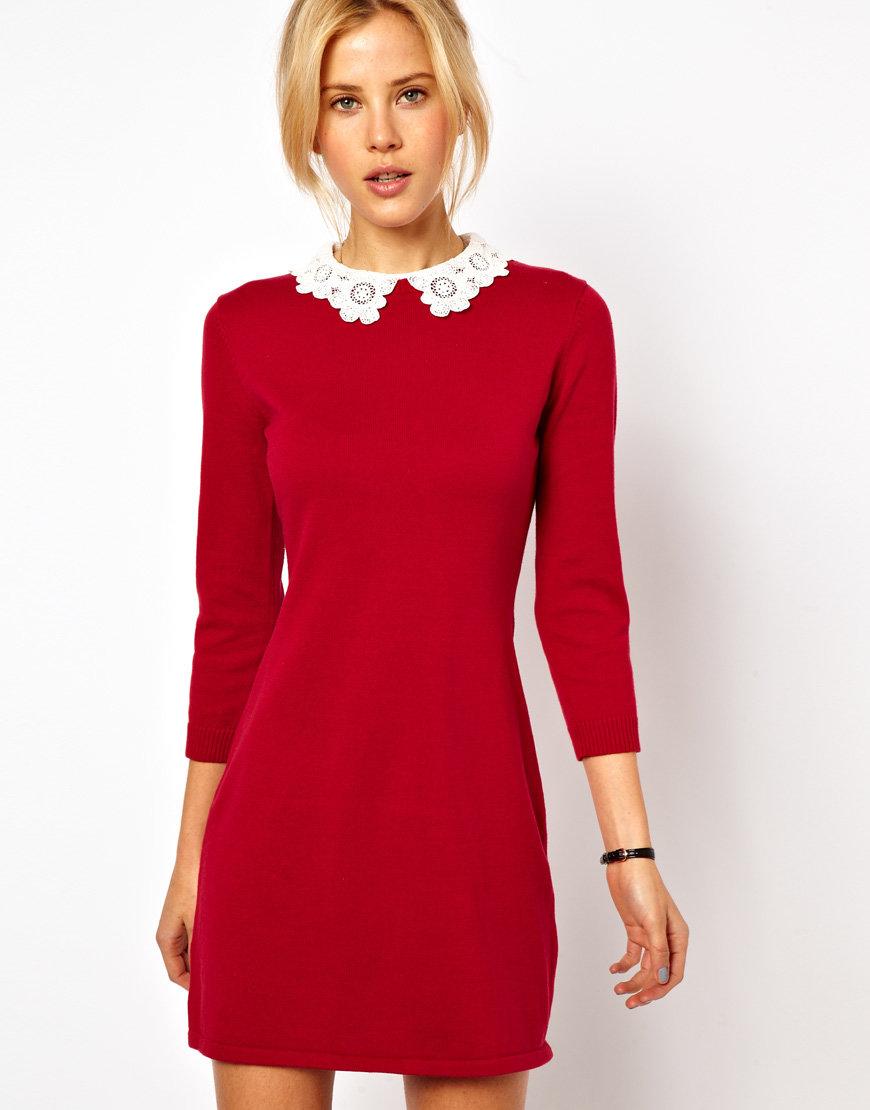 красное платье с белым воротником фото