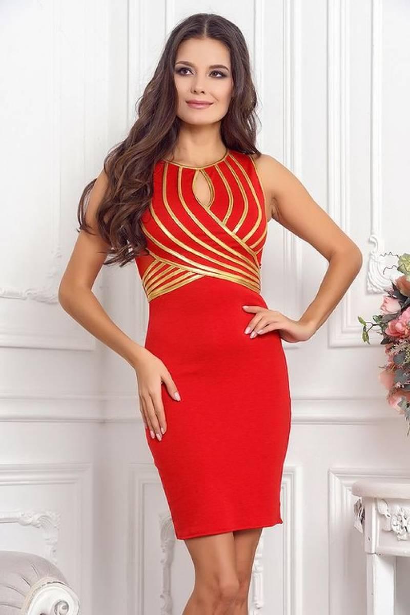красное платье с золотом фото