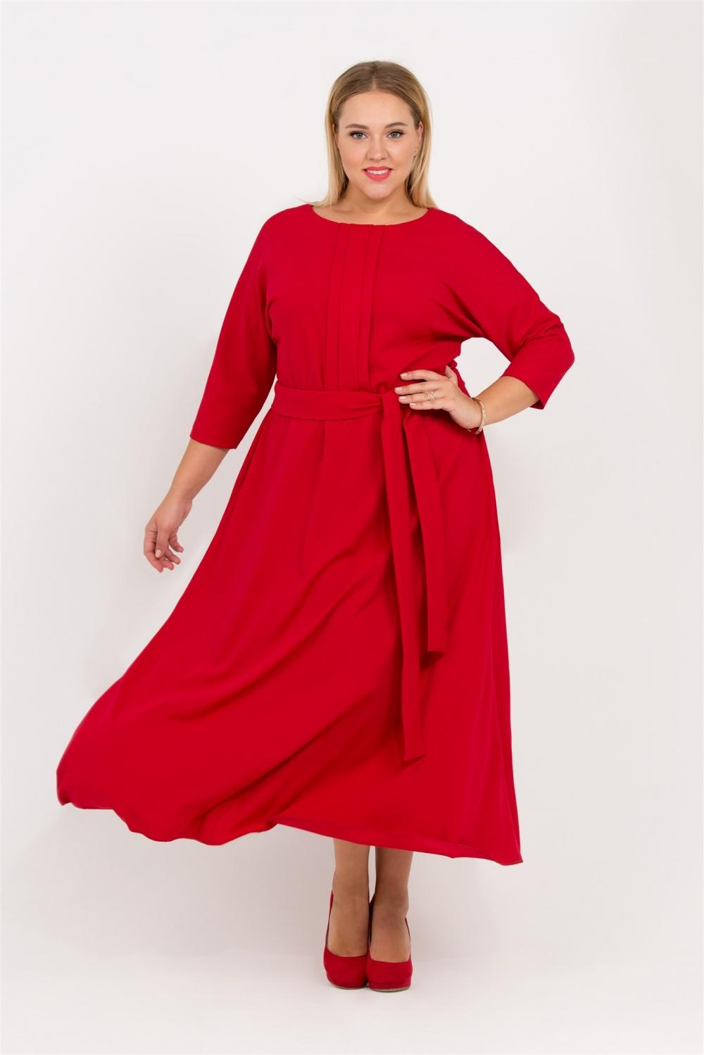 красное платье на полную фигуру фото
