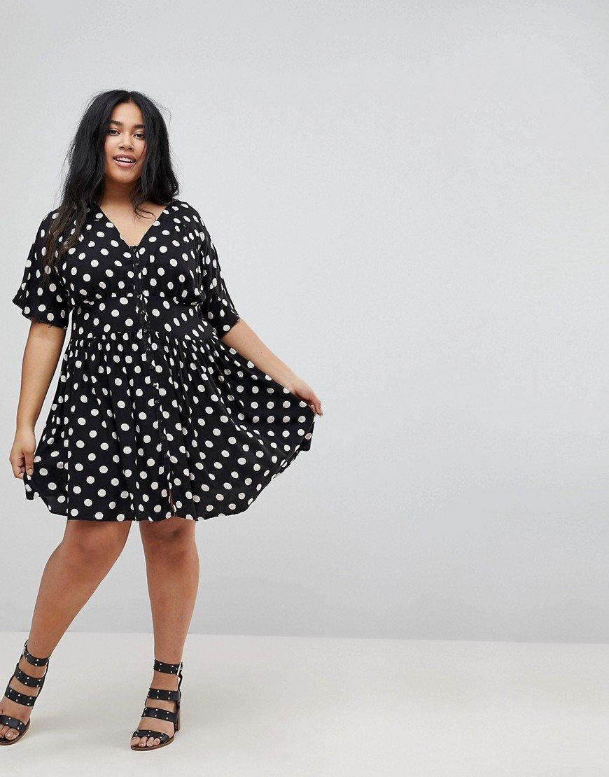 платье для полных в горошек фото