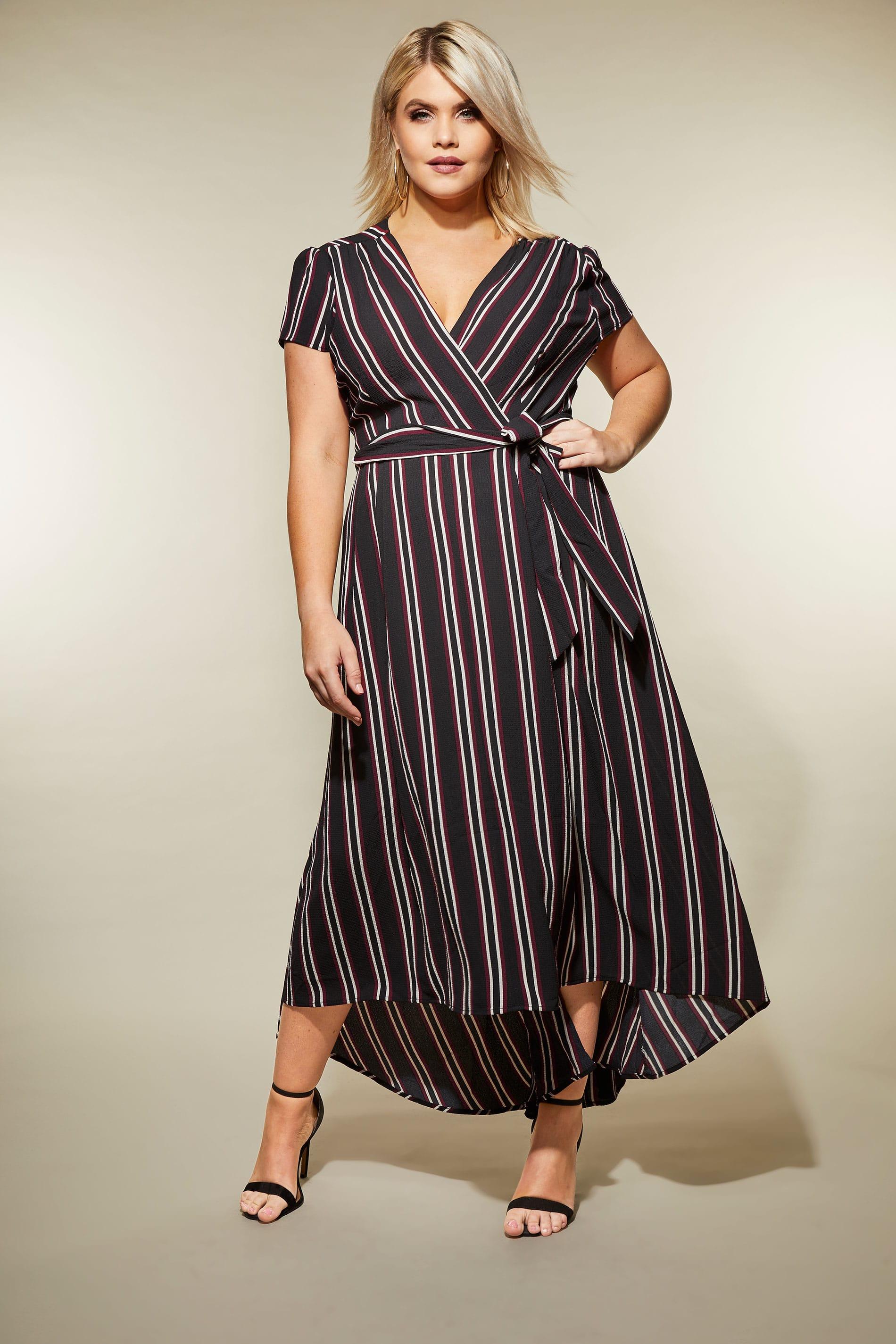 платье для полных в полоску фото