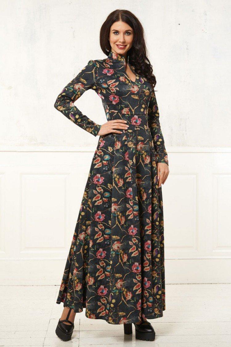 платье в пол с длинным рукавом фото
