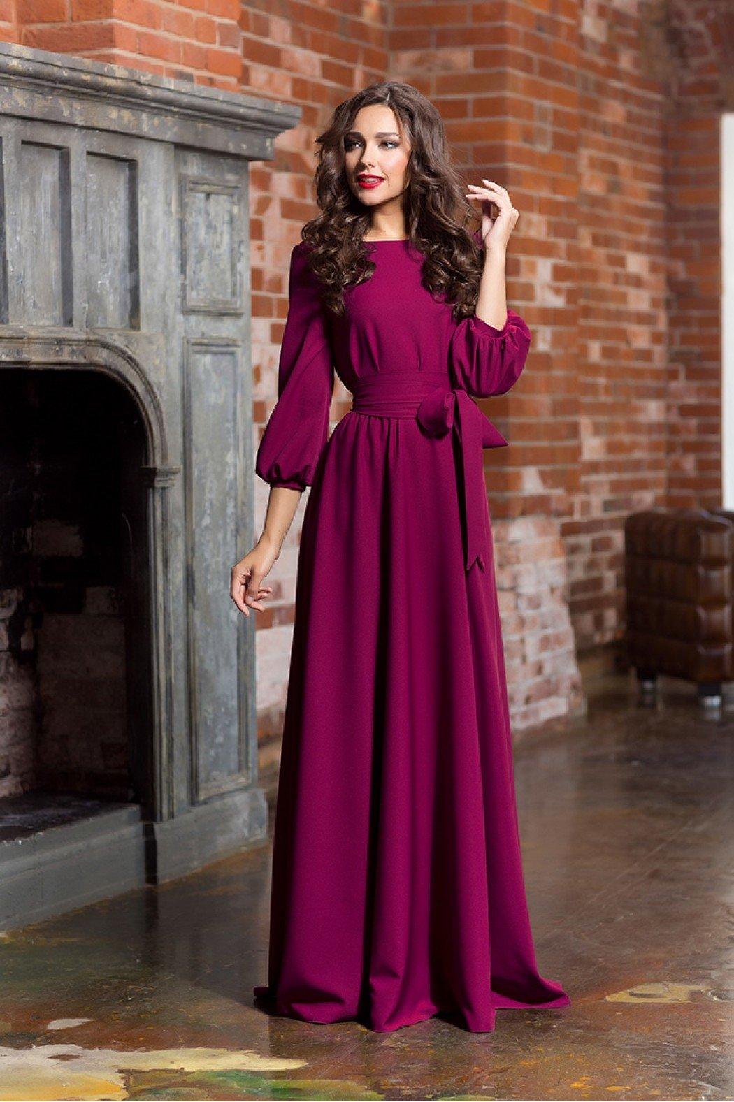 платье с длинным рукавом вечернее фото
