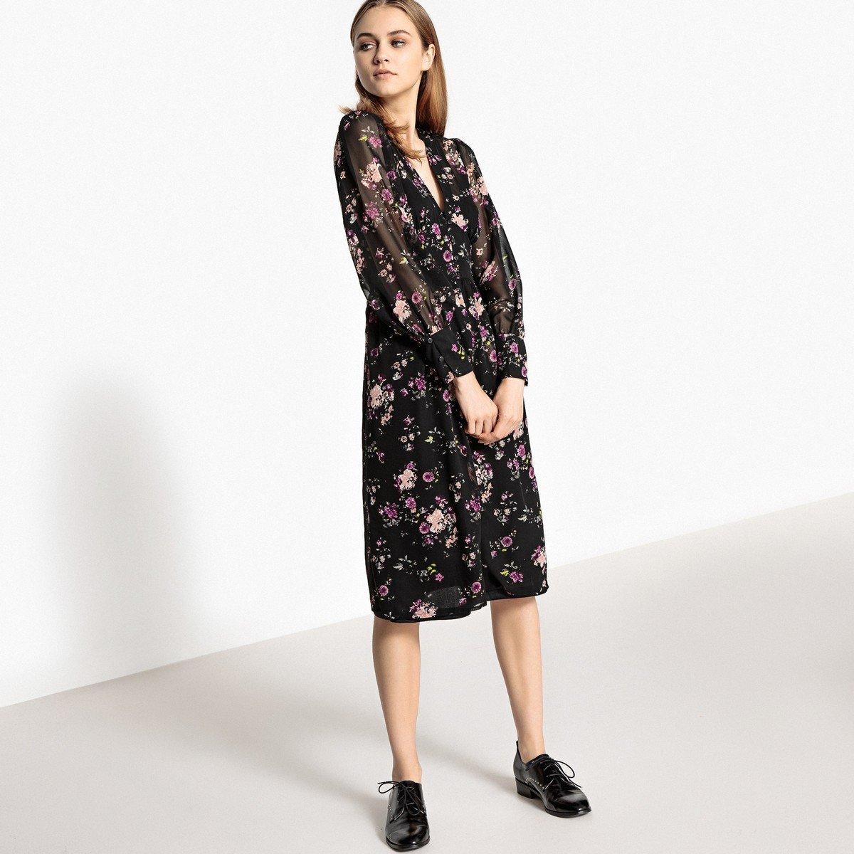 платье с длинным рукавом миди фото