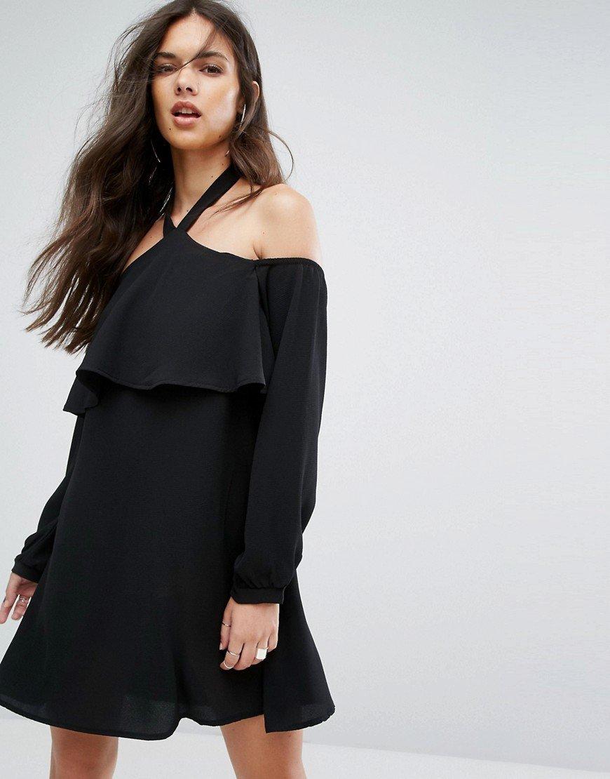 платье с длинным рукавом и открытыми плечами фото