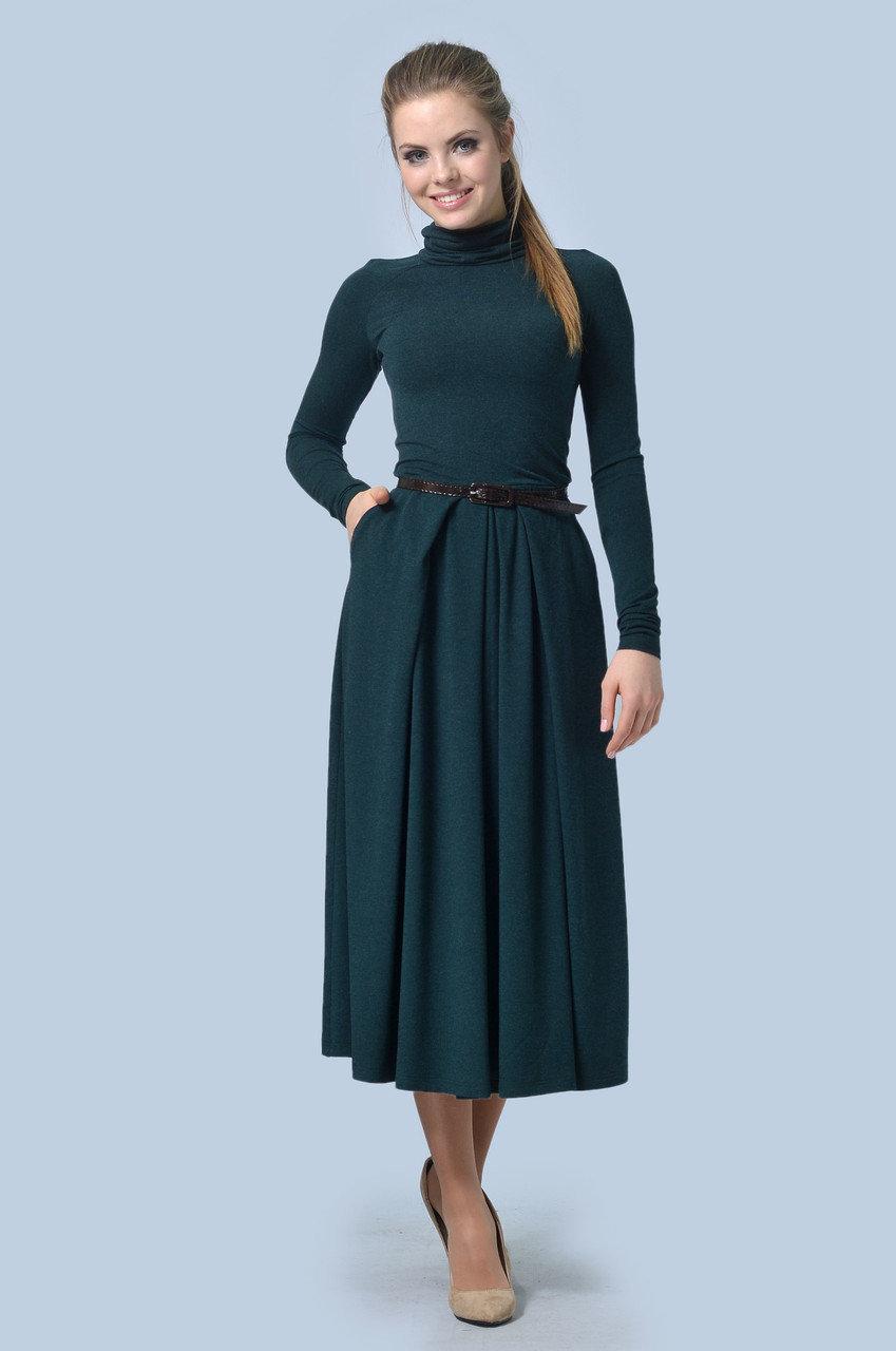 платье с длинным рукавом отрезное по талии фото
