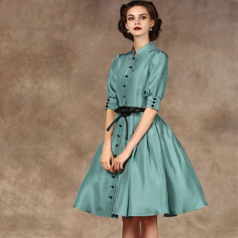 платье с длинным рукавом в стиле ретро фото