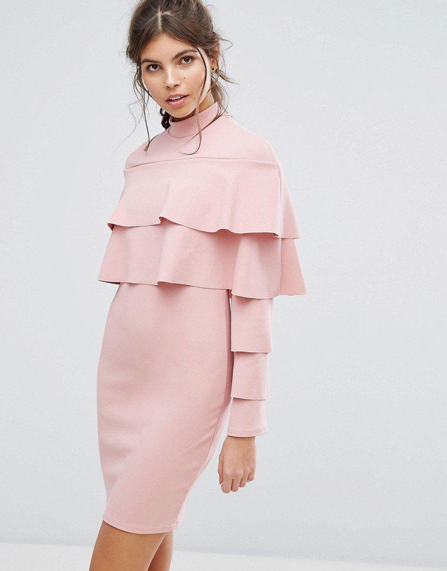 платье с длинным рукавом с оборками фото