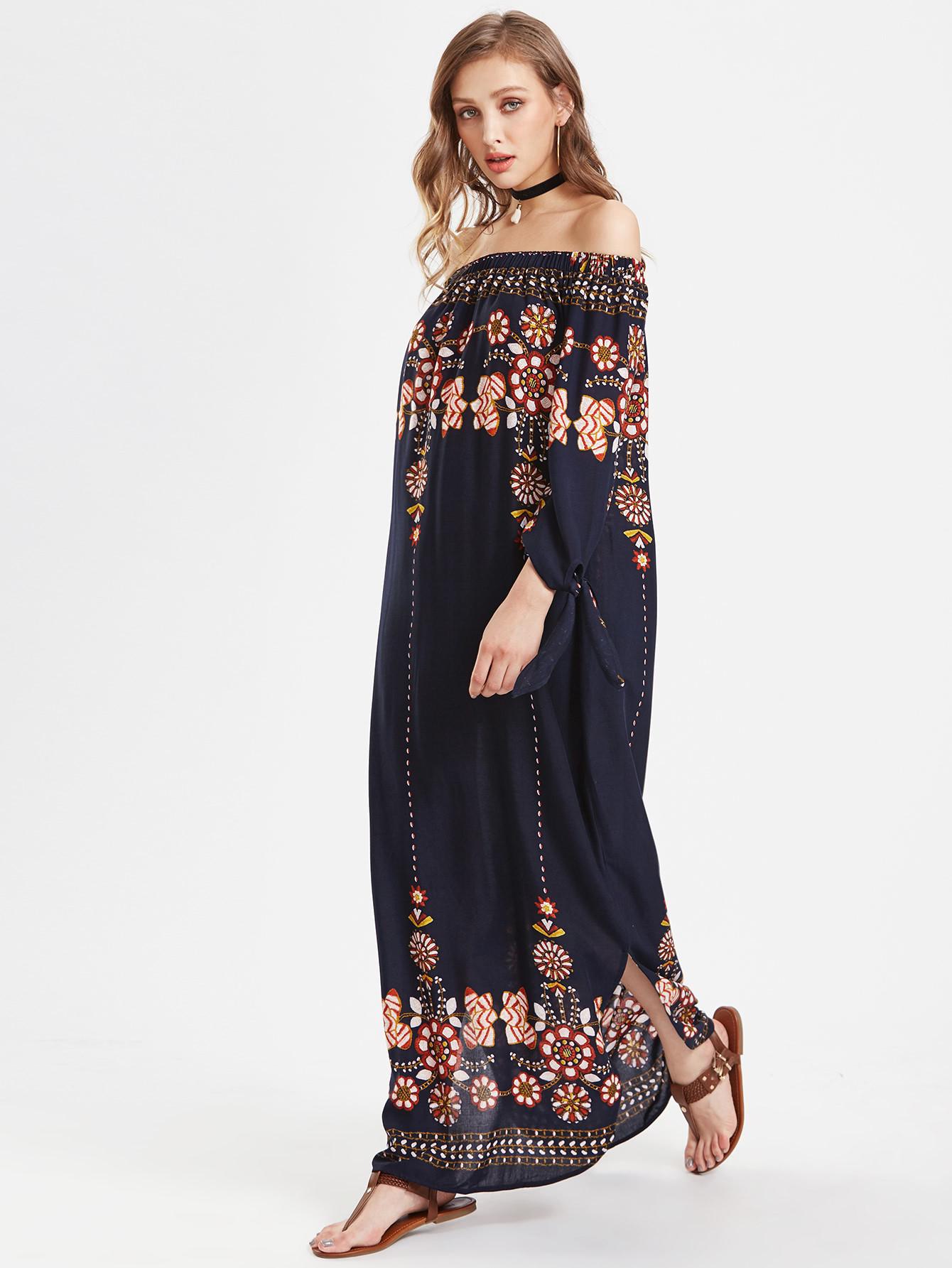 платье с длинным рукавом в стиле бохо фото