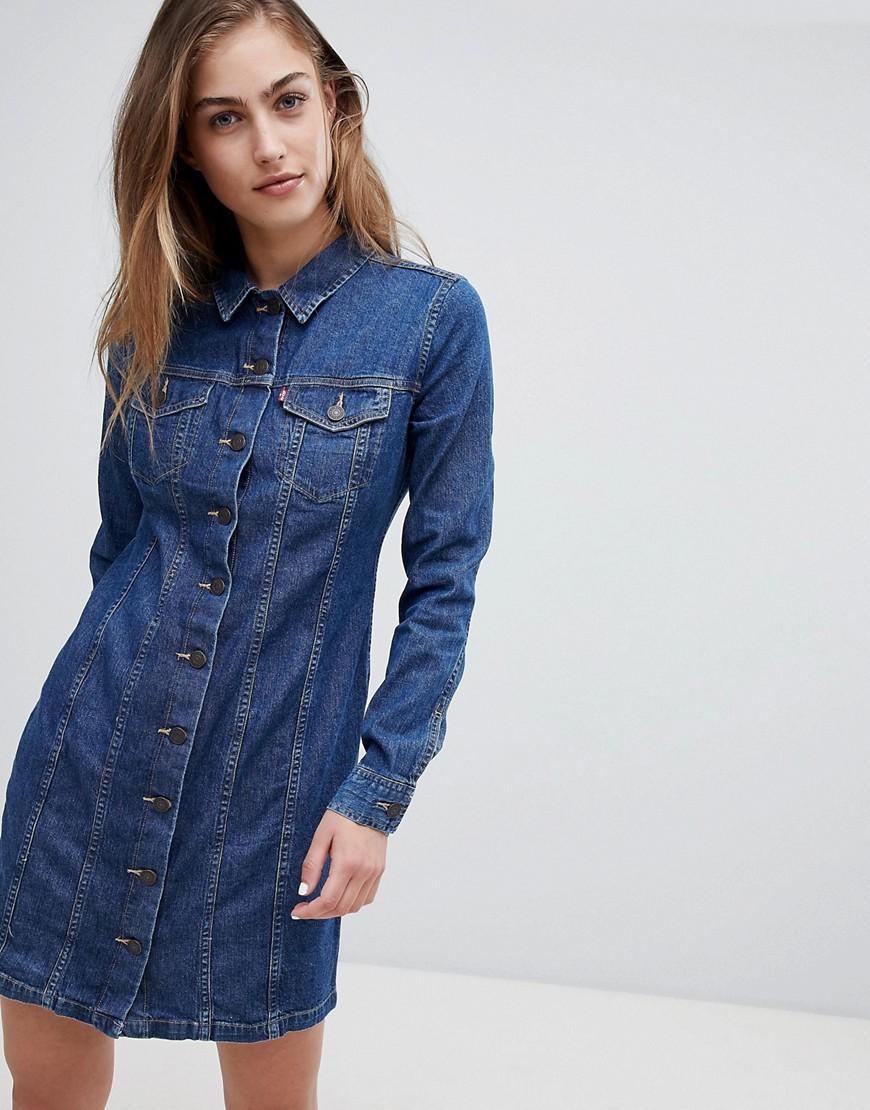 платье с длинным рукавом джинсовое фото