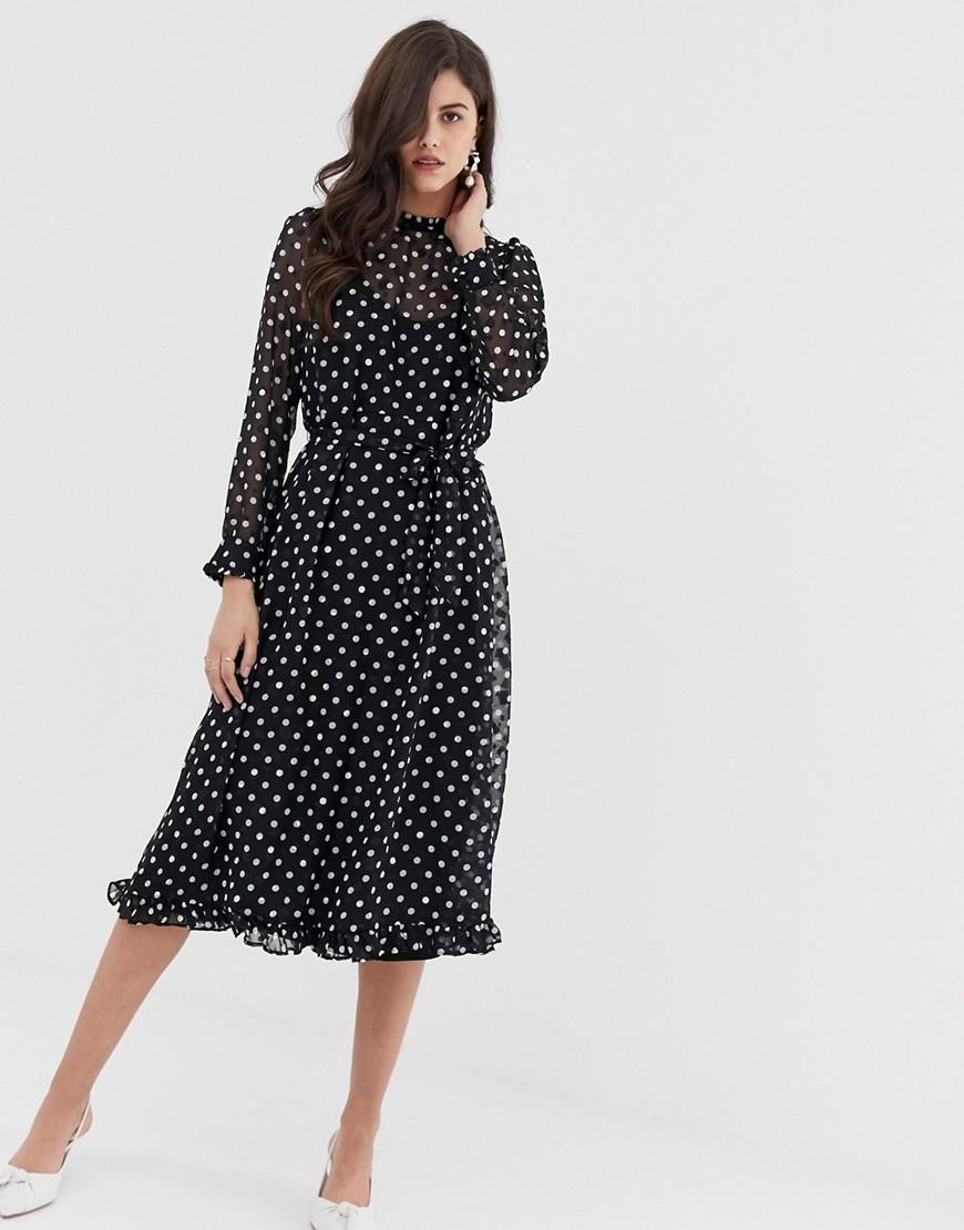 платье с длинным рукавом в горошек фото
