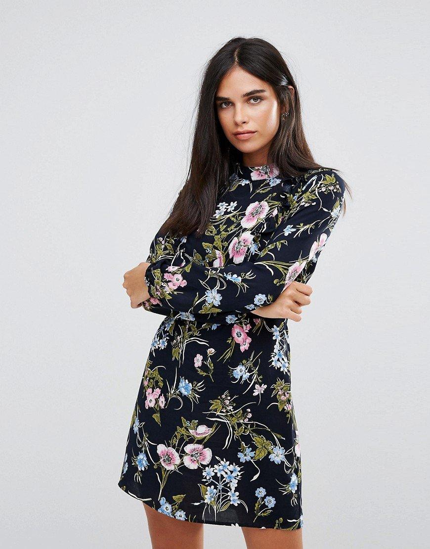 платье с длинным рукавом цветочный принт фото