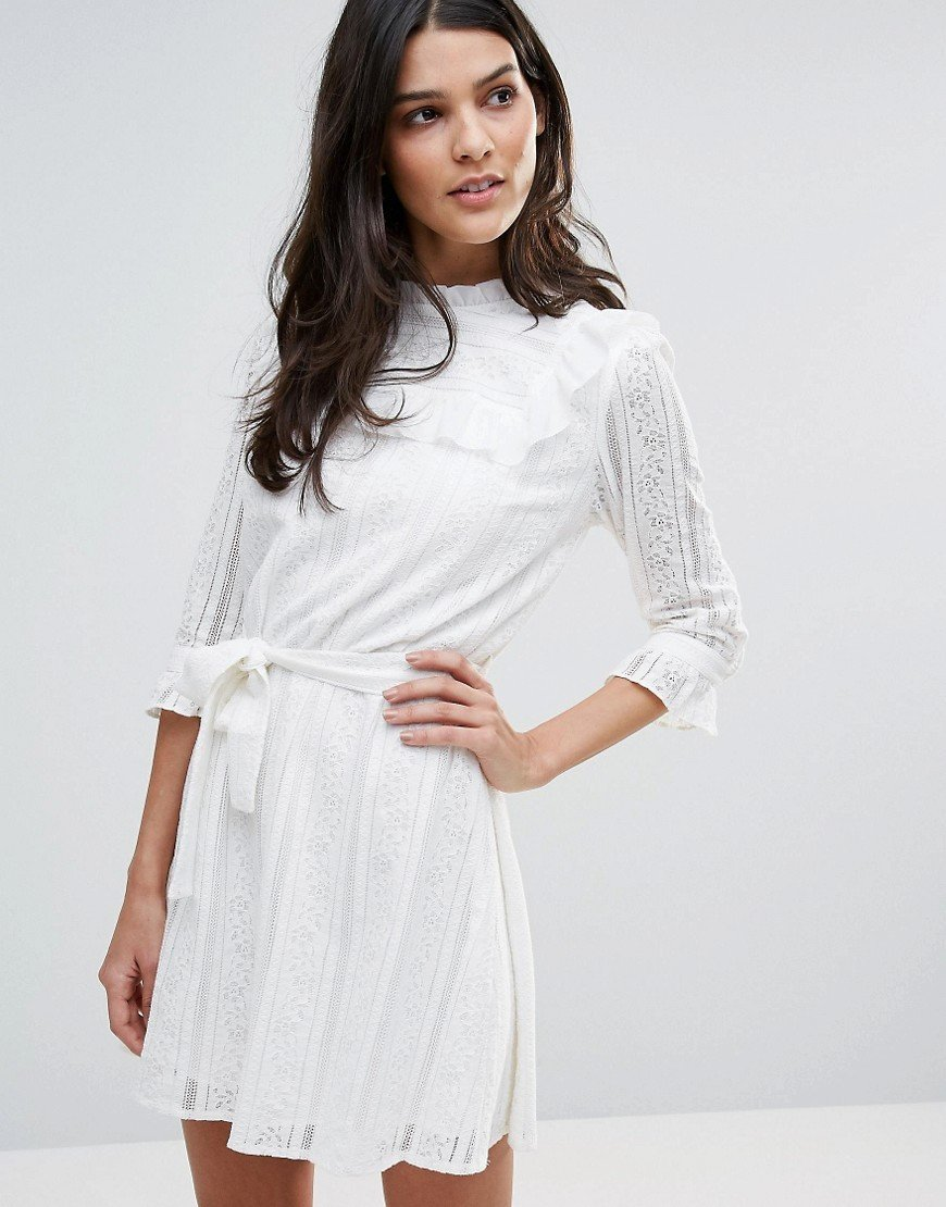 платье с длинным рукавом белое фото