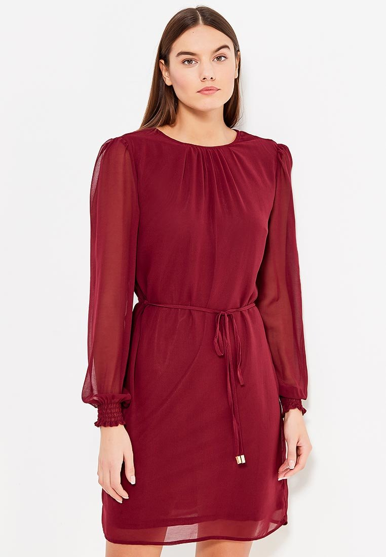 платье с длинным рукавом бордовое фото