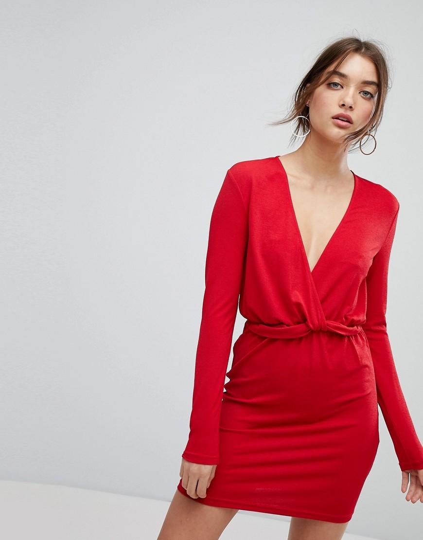 платье с длинным рукавом красное фото