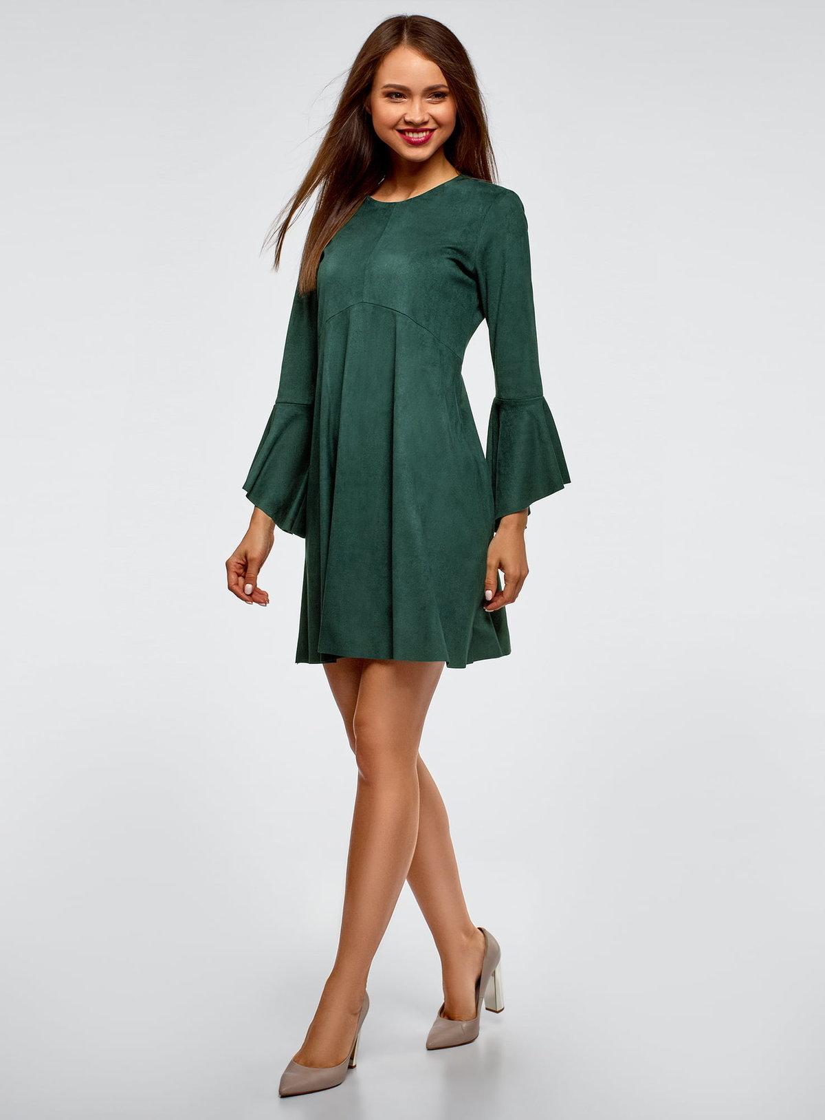 платье с длинным рукавом зеленое фото